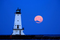 2012-02-08-0030 Ludington Light, Moon, and Cloud